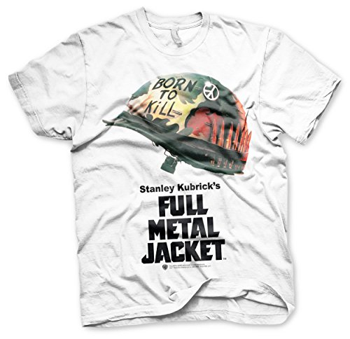 Full Metal Jacket Shirt (Full Metal Jacket Offizielles Lizenzprodukt Poster Allover T-Shirt (Weiß), Large)
