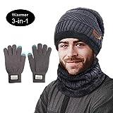 TedGem Herren Wintermütze, Schal Set, Wintermütze Warm Beanie Herren Mütze Schal Set für Herren mit Fleecefutter (Grau)