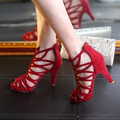 YE Damen High Heels Gladiator Cut Out Sandalen Plateau Offen mit 10cm Absatz Sommer Schuhe Rot
