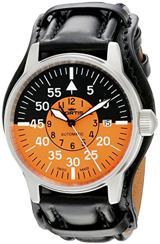 Fortis Men's 595.11.13 L.01 Flieger Cockpit Orange Analog Display Automatic Self Wind Black Watch
