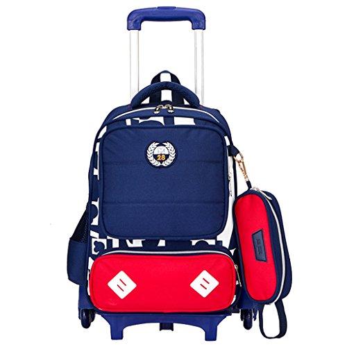 Kinder Trolley Rucksack Schul Rucksack - Kindergepäck Reisegepäck Rolling Schulranzen Kinderkoffer Tasche für Mädchen Jungen Lässig Wasserdicht Kindertrolley Reisekoffer