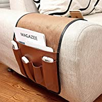 IPENNY No-slip Leather Sofa Couch Remote Control Holder Chair Armrest Caddy Pocket Organizer Storage Bag for Cellphone Tablet Notepad Book Magazines DVD Eyewears Drinker Snacks Holder Pouch