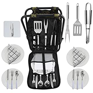POLIGO BBQ Grill-Tools Set in Mehrzweck-Storage-Rucksack Klappstuhl mit isolierten Kühltasche, komplette Zubehör-Set für Outdoor-Barbecue, Camping, Picknick, Angeln, Wandern, Grillen