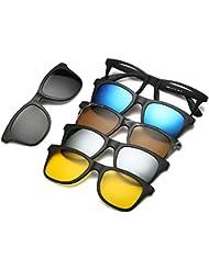 FOONEE Gafas de Sol Vintage, Gafas de Sol Polarizadas Magnéticas Juego de 5 Lentes, Gafas con Clip Gafas de Sol Retro Unisex para Conducir, Pesca, Ciclismo