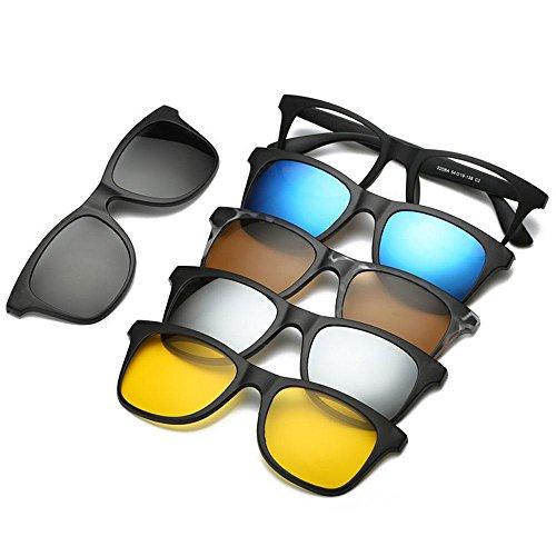 FOONEE Vintage Sonnenbrille, magnetische polarisierte Sonnenbrille mit 5 Gläsern, Clip-on Brille Unisex Retro Sonnenbrille für Autofahren, Angeln, Radfahren