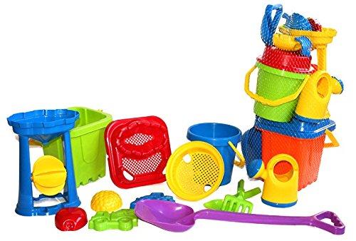 Preisvergleich Produktbild Strandspielzeug, Riesen XXL Eimergarnitur, 13-teilig, sehr stabiler Kunststoff, Made in EU, Izzy Sport