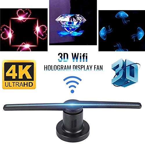 Microware 3D 5D 4K Hologram Advertising Display Led Fan with WiFi - Holographic 3D Photos and Videos - The 3D Projector is Best for Store, Shop, Bar, Casino, Holiday Events Display Fan Projector