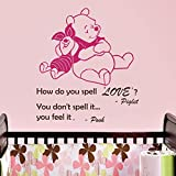 Vinyl Wandtattoo Winnie Puuh the Pooh Zitat How Do You Spell Love You Feel Liebe It Ferkel Baby Bär Kinder Wandaufkleber Wandsticker Wanddekoration für Schlafzimmer Kinderzimmer Babyzimmer A344