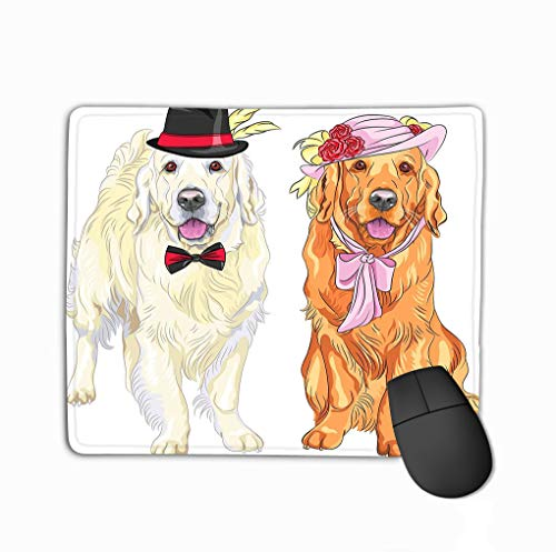 Mouse pad Vector Funny Pair Dogs Labrador Retriever Wearing Hats ti Hipster White Gentleman hat Bow tie red Lady hat steelseriesKeyboard