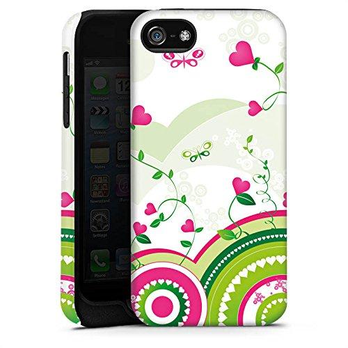 Apple iPhone 5 Housse étui coque protection C½ur couleurs Printemps Cas Tough terne