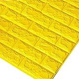 Godagoda 3D Ziegel Tapete Wandaufkleber Selbstklebend Stereo Wandtattoo Papier für Schlafzimmer Kinderzimmer TV Hintergrund 60x30cm Gelb