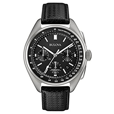 Bulova Men's Designer Watch Leather Strap - Black Moon Wrist Watch 96B251