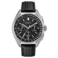 Bulova Moonwatch 96B251 - Herren Designer-Armbanduhr - Armband aus Leder - Schwarz