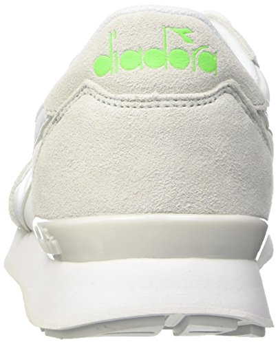 Diadora Camaro, Pompes à plateforme plate mixte adulte White/Green Fluo