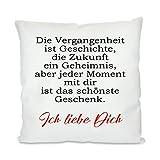 Herzbotschaft Kissen mit Motiv Modell: Die Vergangenheit ist Geschichte, Stoff, Weiß, 45 x 45 x 10 cm