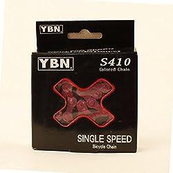 YBN S410 1-compartimento para cadena de bicicleta Fixie BMX rojo 112 eslabones Single Speed