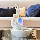 NYDZ Fuente de Agua de señora humidificador artesanías Adornos, decoración del hogar Artesanía Blanca Muebles de Altura 33cm