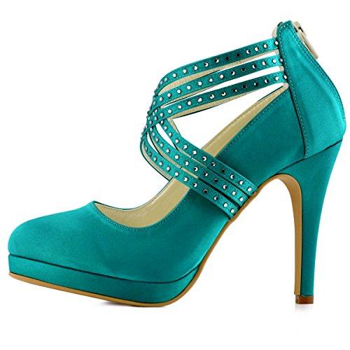 ElegantPark EP11085-PF Femme bout Ronde Plate-Forme De Haut Talon Zip Bretelles En Satin Chaussures De Mariage sarcelle