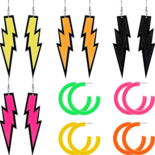 8 Paar Damen 80er Jahre Retro Acryl Ohrringe Retro Ohrringe Baumeln Ohrringe Neon Ohrringe für 80er Jahre Party Kostüm Zubehör