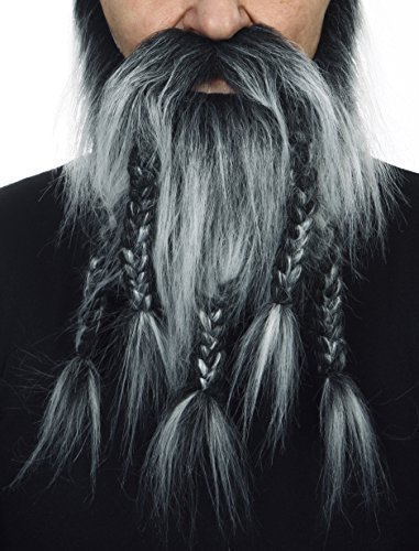 Mustaches Selbstklebende Neuheit Viking Dwarf Fälscher Bart Falsch Gesichtsbehaarung Kostümzubehör für Erwachsene Salz und Pfeffer Farbe (Spirit Kleber Gum)