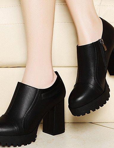 WSS 2016 Chaussures synthétique de bureau talons printemps / automne / hiver talons des femmes&carrière / casual gros talon fendu joint noir / black-us5.5 / eu36 / uk3.5 / cn35