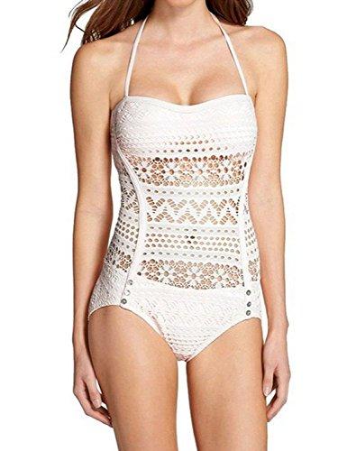 Sexy Damen Schwarz Weiß Bandeau Push Up Badeanzug Bikini Neckholder/Strappy Mit Spitzendetails Bademode Weiß