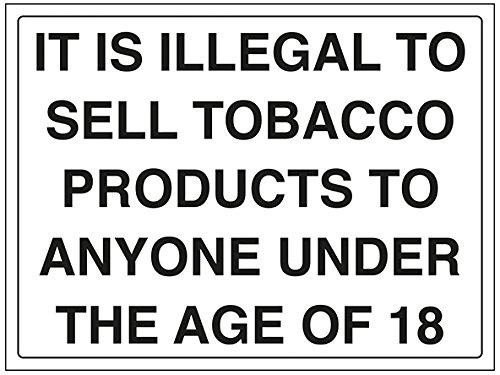 vsafety 72026bf-r informazioni generali Sign, prodotti del tabacco/Illegale a vendere ai 18, Plastica rigida, paesaggio, 400mm x 300mm, colore: nero
