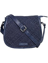 Justanned women Leather Woven blue crossbody Bag