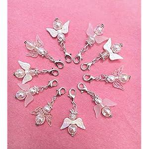 10 weiß irisierende, gemischte Perlenengel mit Karabinerhaken, handmade, Schutzengel, Anhänger