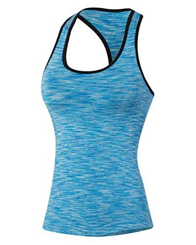 ZKOO Le donne Asciugatura Veloce Gym Sport Yoga Serbatoio Fitness Stretch Canotte Formazione Maniche Blu M