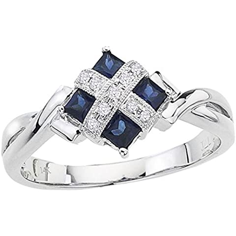 14K Oro Blanco Square zafiro y anillo de diamante