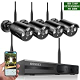 OOSSXX 8-Channel HD 1080P Wireless Network/IP Security Camera System(IP Wireless WIFI NVR Kits),4Pcs 720P 1.0 Megapixel Wireless Indoor/Outdoor IR Bullet IP Cameras,P2P,App,No HDD