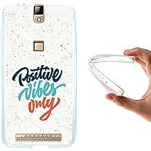 WoowCase Funda Elephone P8000, [Elephone P8000 ] Funda Silicona Gel Flexible Positive Vibes Only, Carcasa Case TPU Silicona - Transparente