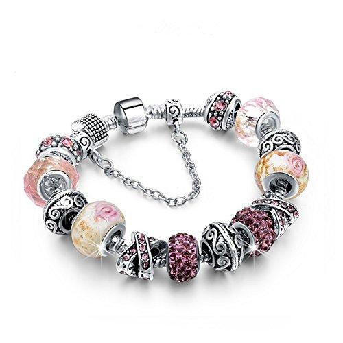 Bracciale donna e ragazza con bead placcato argento, con vetro di murano e zirconi - componibile, misura regolabile, compatibile pandora - massima brillantezza, alta qualità (pink)