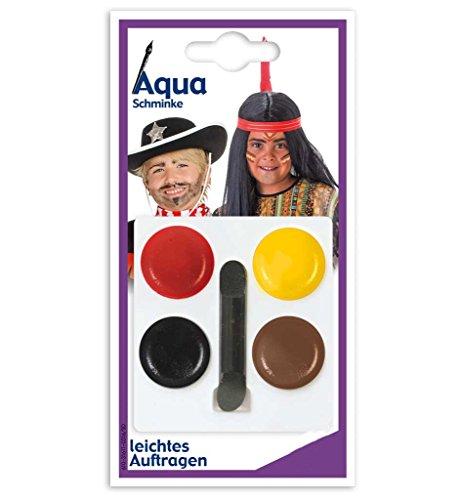 KarnevalsTeufel Aqua Schminkset in verschiedenen Motiven, 4 Tiegel Aqua Theaterschminke, farbenfroh,...