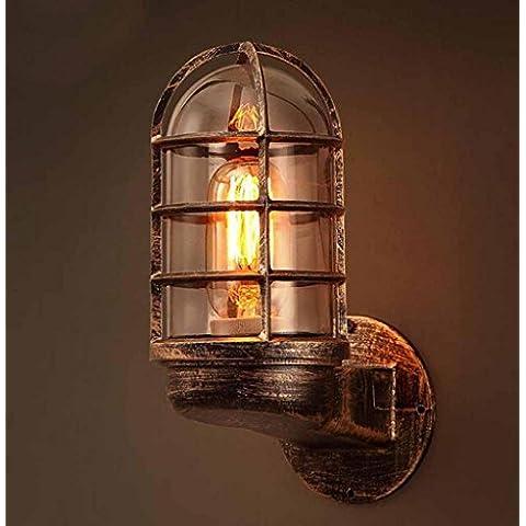 KHSKX Lampada da parete in ferro battuto d'epoca, corridoio di vetro creativo camino tubi ristorante la lampada da parete di corridoio