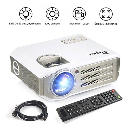 Beamer,Papake 1080P HD Heimkino Projektor,3200 Lumen Multimedia LED Büro Projektor LCD Panel HDMI/VGA/AV/USB Home Projektor für Outdoor Indoor Film, Party Spiel, Laptop iPad Smartphone