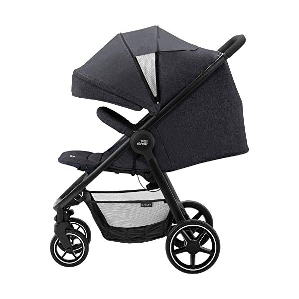 Britax Römer B-Agile M Stroller Pushchair, Birth to 4 Years (22kg), Black Shadow Britax Römer Compatible with all Britax Römer infant carriers with optional adapters as well as the Britax Römer carrycot Lie-flat backrest - suitable for a soft carrycot Large protective hood with viewing window and upf 50+ sun protection 5