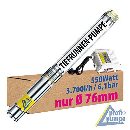 """SONDERPREIS! 3"""" Zoll - 550W BRUNNENPUMPE TIEFBRUNNENPUMPE TAUCHDRUCKPUMPE TAUCHPUMPE ROHRPUMPE GARTENPUMPE HAUSWASSERWERKWASSERPUMPE PUMPE Brunnen-Star-550-4=Die ENERGIE-SPAR PUMPE mit hoher Förderleistung und großem Druck für BRUNNEN bis ca. 25m Tiefe"""