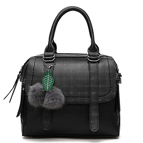 Wewod Neue Stilvoll Damen Einfarbige Prägung Diagonalen Umhängetasche Handtaschen Tragbare Schulter Messenger Bag Mit Zubehör (schwarz)
