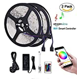 Witmoving Led Strips Lights 32.8ft (10m) Alexa Wifi Smart LED Strip With Alexa Wifi Wireless Remote Smartphone Controlled RGB Music Smart LED Light Strip Waterproof for Kitchen Wall Mirror Home Decoration Lighting