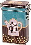 Quality Hochwertige Kaffeedose, Vintage-Design, rechteckig, Hermetisch versiegelt, goldfarben, Aqua, Braun