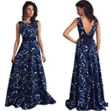 Clearance!!! Women Dress Floral Long Formal Sunday77 Women Dress Valentine's Day Prom Dress Party Ball Gown Evening Wedding Dress Backless Ankle-Length O-Neck Sleeveless (L, Blue)