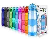 HoneyHolly Sport Trinkflasche - 14oz / 400ml - BPA frei dicht und umweltfreundlich - Für Gym, Laufen, Yoga, Camping, Outdoor, Männer, Frauen & Kinder - One Handed Open & Tritan Trinkflaschen aus Kunststoff mit Filter (0.4 Liter, Glossy Blau)