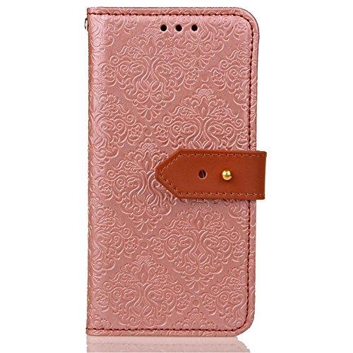 YHUISEN Galaxy S6 Case, Magnetverschluss European Style Wandgemälde Prägeartig PU Leder Flip Wallet Case Mit Stand Und Card Slot Für Samsung Galaxy S6 ( Color : Blue ) Rose Gold