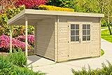 Carlsson Gartenhaus MARIA-40 ISO mit Schleppdach - Gartenhütte aus Massivholz mit Fenstern & Überdachung - Blockbohlenhaus ohne Imprägnierung, 40 mm