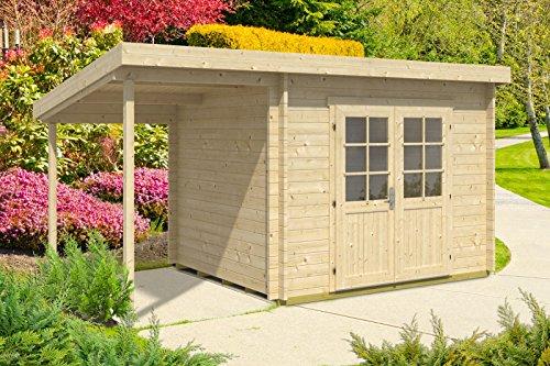 Carlsson Gartenhaus MARIA-40 ISO mit Schleppdach - Gartenhütte aus Massivholz mit Fenstern &...
