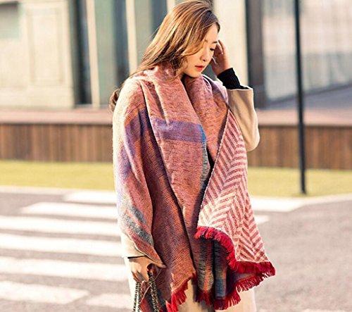 Damen Schal Herbstschal Winterschal Deckenschal weich warm Karoschal Poncho Material: Samt Größe:200*82CM