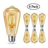 Edison Vintage Glühbirne, tonitott Edison LED Lampe E27 4W Warmweiß Licht Antike Kohlefadenlampe Dekorative Lampe für Nostalgie und Retro Beleuchtung im Haus Café Bar usw - 6 Stück [Energieklasse A+]