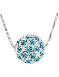 Crystal Diamond Accent Shambhala Lucky Ball Pendant Necklace Made with Swarovski Crystal, with a Gift Box